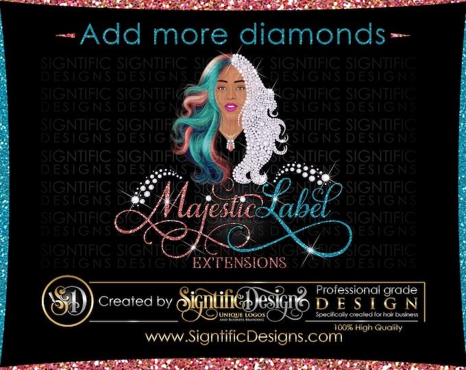 Multi-Color Hair Extension Logo, Diamond Hair Logo Design, Customize Bling Hair Logo, Hair Branding/Packaging Logo, Luxury Hair Bundle logo