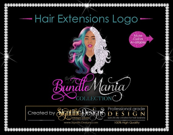 Hair Extensions Logo, Hair Bundle Logo, Diamond Hair Logo, Multi Color Hair Logo, Bling Hair Logo, Customized Logo, Hair Packaging Logo