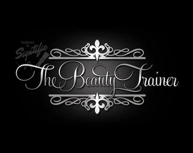 Custom logo - custom hair salon design, decorative silver logo, hair and beauty logo design, beautician signature logo design in any colors