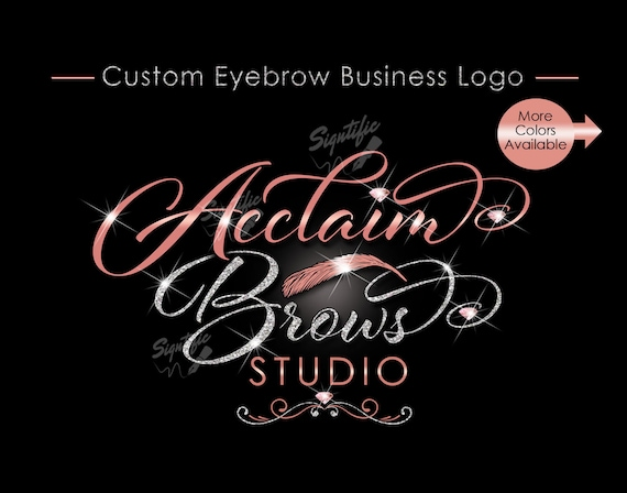 Eyebrow Business Logo, Eyebrow Logo, Eyebrow Branding, Glitter Logo, Bling Logo, Logo Revamp, Rose Gold Logo, Eyebrow Studio Logo