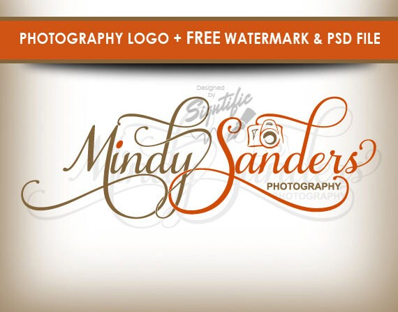 Photography logo with camera, free watermark and PSD source file, custom photo signature, professional logo, orange and beige logo design