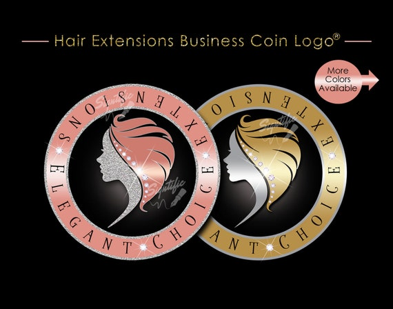 Hair Extensions Logo, Hair Coin Logo, Hair Business Logo, Virgin Hair Logo, Bundle Wrap Logo, Hair Tags Logo, Tresses Logo, Mane Hair Logo