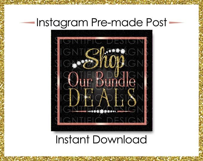 Instant Download, Shop Our Bundle Deals, Glitter Bundle Flyer, Hair Extensions Post, Instagram Post, Glitter Gold Rose Gold, Digital Flyer