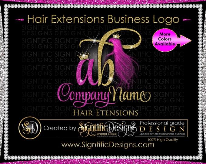 Hair Extension Logo, Hair Bundle Logo, Extensions Logo, Hair Business Logo, Wig Logo, Fuchsia hair Logo, Hair Branding, Glitter Bling Logo