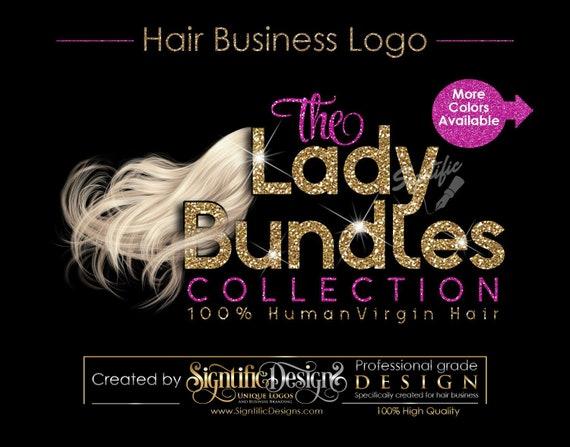 Hair Extensions Logo, Hair Bundle Business Logo, Pale Hair Logo, Blonde Hair Logo, Flowing Hair Logo, Glitter Hair Logo, Bundle Glitter Logo