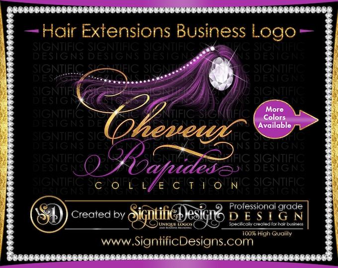 Hair Extension Logo, Hair Logo Design, Hair Business Logo, Wig Logo, Hair Bundle Logo, Extensions Logo, Bling Diamond Logo, Glitter Logo