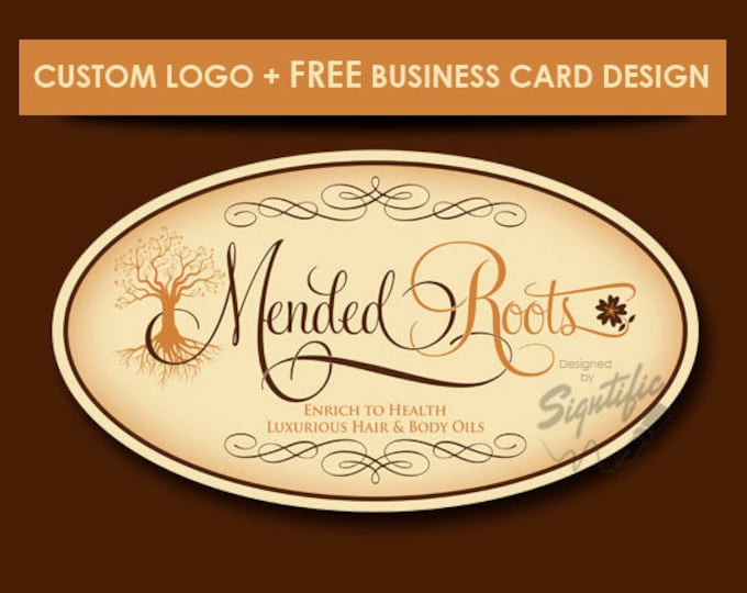 Custom product label - FREE business card design, brown and copper logo, custom product label, hair oil logo, oval logo with clipart