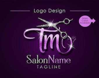 Hair Salon Logo, Salon Name Initials Logo, Bling Diamond Scissors Logo, Hair Collection Logo, Hair Strands Logo, Hair Bundle Logo, wigs logo