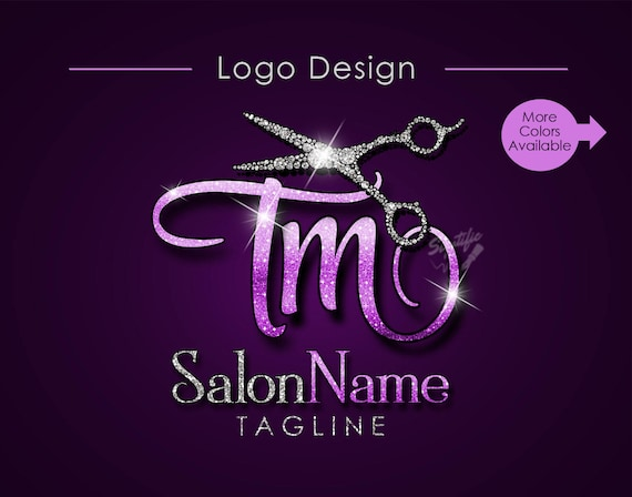 Hair Salon Logo, Salon Name Initials Logo, Bling Diamond Scissors Logo, Hair Collection Logo, Hair Strands Logo, Hair Bundle Logo, wigs logo