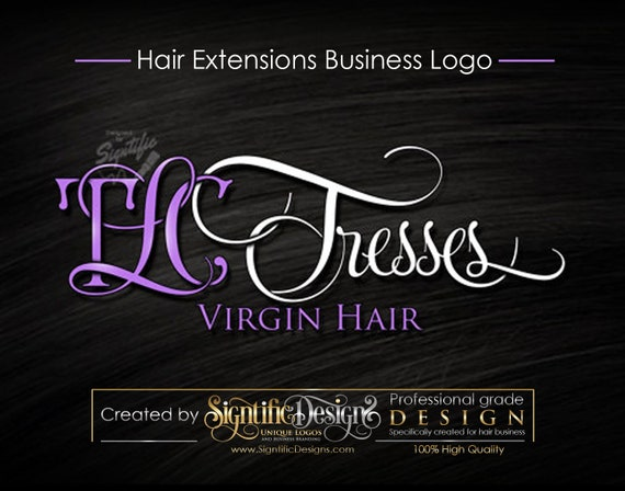 Virgin Hair logo design, Hair Extensions Logo, Hair Salon Logo, Lavender and White Lettering Design, Business Sign Logo, Logo in any Colors