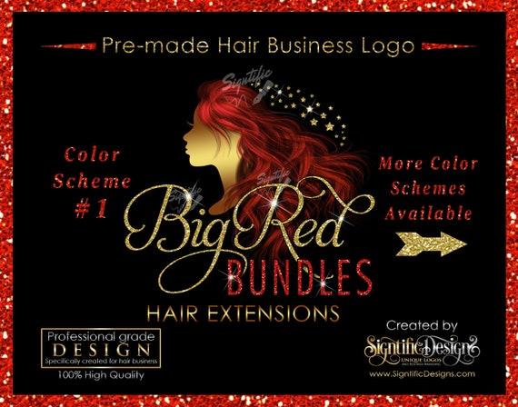 Hair Extensions Logo, Premade Hair Logo, Hair Business Logo, Flowing Hair Logo, Virgin Hair Logo, Hair Bundle Logo, Glitter Shimmer Logo