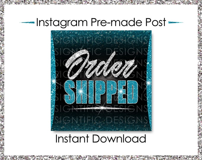 Instant Download, Order Shipped Post, Glitter Silver Teal, Hair Extensions Flyer, Instagram Post, Social Media Flyer, Social Media Post