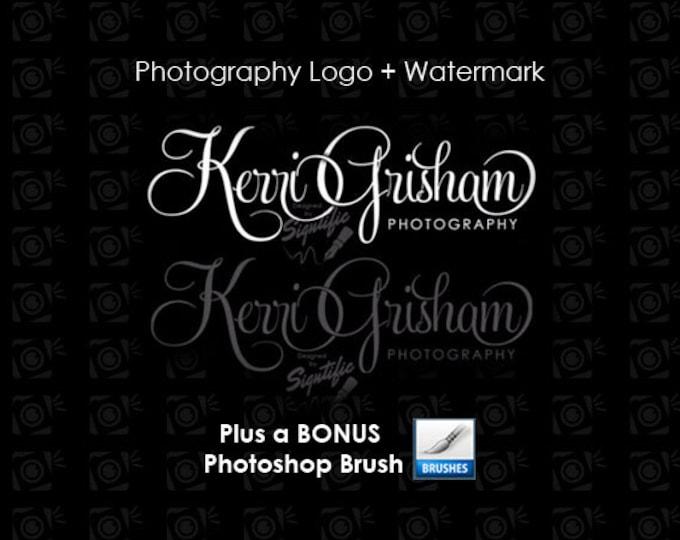 Photography logo, Watermark, Bonus photoshop brush, Photographer Name Signature, Logo for Photography, Photograph Watermark Logo Design
