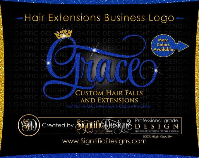 Glitter bling Hair Extensions Logo, Custom Hair Salon Glitter Blue and Gold Logo with Sparkles, Bling Gold Crown Shimmer Logo, Blue Glitters