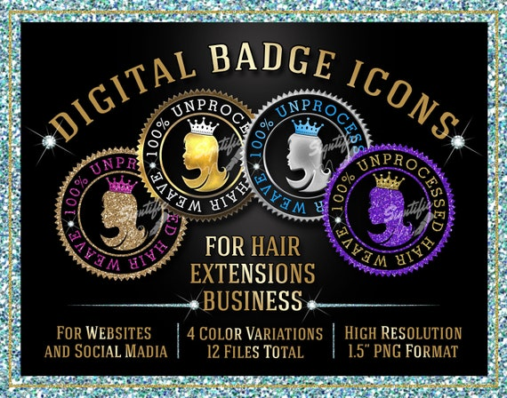 Hair Extensions Badge Icons Instant Download, 100% Unprocessed Hair Weave Badge Icons, Website Badge, Social Media Icons, Quality Seal Icons