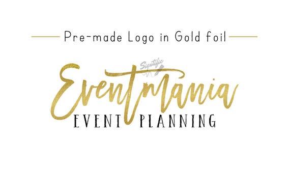 Premade Gold Foil Name Logo, Gold Leaf Logo, Event Planning Logo, Business Logo, Name Signature Logo, Pre-made Logo Design, Photography Logo