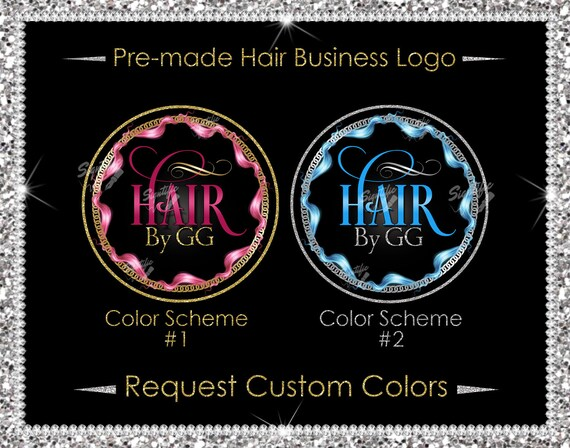 Premade Hair Logo, Hair Extensions Logo, Hair Business Logo, Hair Frame Logo, Glitter Logo, Hair Bundle Logo, Round Hair Logo, Hair Branding