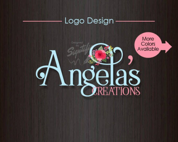 Floral Name Logo, Vintage Business Logo, Sewing Business Logo, Art and Craft Logo Design in Any Colors, Premade Floral Logo, Colour Logo
