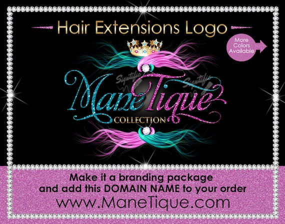 Hair Extensions Logo, Hair Glitter logo, Hair Branding, Bundle Logo, Bling Hair Logo, Flowing Hair Logo, Packaging Logo, Semi Custom Logo