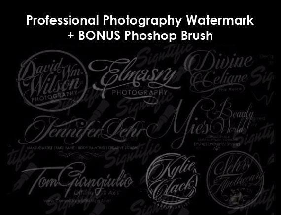 Custom Photography Watermark Plus Photoshop Brush Preset