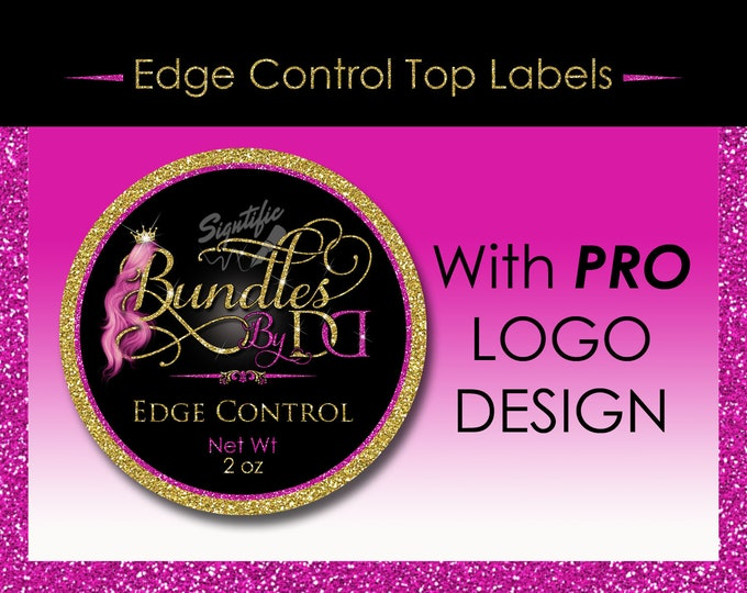 Edge Control Top Label Design and Printing with Professional logo or Text Logo for Hair Product, Cover Label, Sticker Design, Jar Label