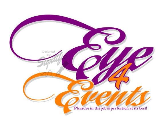 Event planning logo, orange and purple logo, custom online business logo, professional logo design, affordable logo design, one of a kind