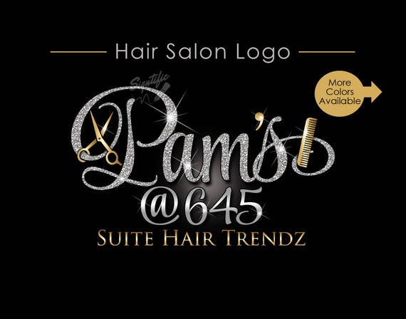 hair salon logo beauty salon logo glitters hair logo etsy