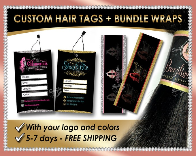 Hair Tags and Bundle Wraps, Hair Extensions Labels, Hang Tags, Hair Labels, Hair Stickers, Hair Card, Hair Business Labels, Virgin Hair Tags