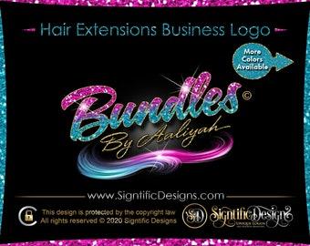 Ombre Hair Logo, Hair Extension Logo, Glitter Logo, Bling Hair Logo, Hair Bundle Logo, Hair Company Logo, Wig Logo, Hair Branding Design