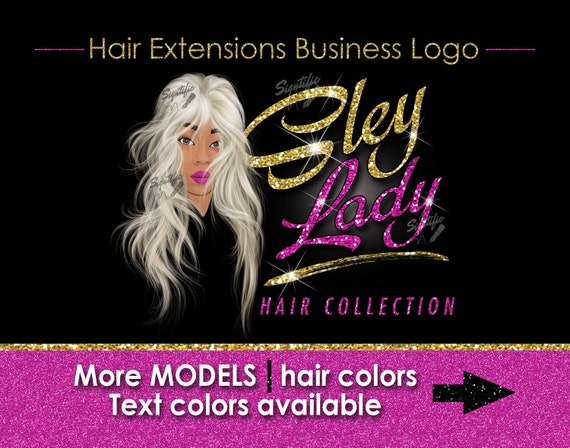 Hair Extensions Logo, Hair Bundle Business Logo, Illustration Logo, Hair Logo, Glitter Bling Logo, Hair Tags Logo Design, Wig Business Logo