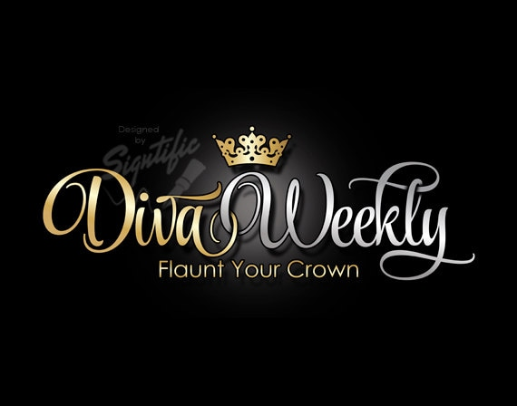 Custom business logo, silver and gold lettering with crown, elegant cursive design, business name logo design, OOAK logo with crown