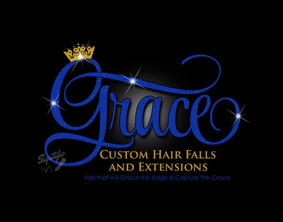 Glitter bling Hair Extensions Logo, Custom Hair Salon Glitter Blue and Gold Logo with Sparkles, Bling Gold Crown Shimmer Logo, Blue Glitters