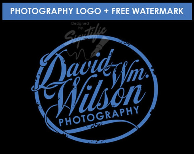 Vintage photography logo with a FREE watermark, distressed badge, business logo design, round logo, photographer badge design