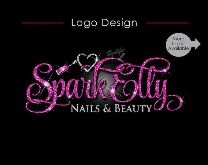 Nail Salon Logo, Glitter Logo, Bling logo, Nail Polish Logo, Logo for Business, Logo Custom, Logo, Nail Artist Logo, Nail Business Branding