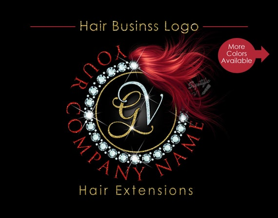 Hair Extensions Logo, Diamond Bling Logo, Glitter Bling Logo, Hair Branding Logo, Hair Bundle Logo, Hair Packaging Logo, Hair Business Logo