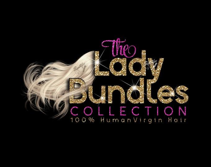 Blonde Hair Logo Design, Glitter Bundle Logo, Glam Logo, Hair Flowing Logo, Hair Business Logo Design, Modern Hair Extension Logo, Wig Logo