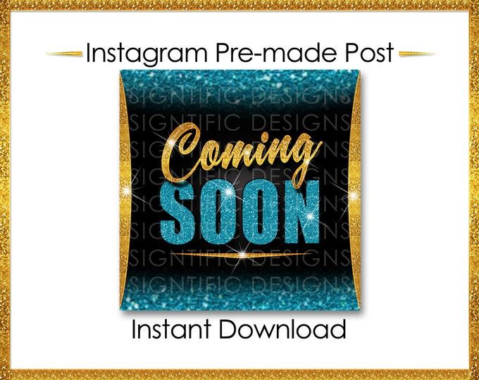 Instant Download, Coming Soon, Hair Extensions Flyer, Glitter Gold Teal, Instagram Post, Digital Online Flyer, Social Media Post, IG Post
