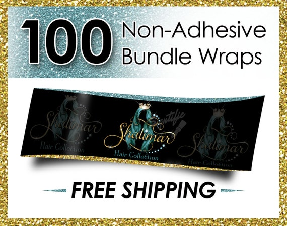 100 Non Adhesive Bundle Wraps, Hair Wraps, Hair Extension Wraps, Hair Labels, Wraps, Hair Business Wraps, Virgin Hair Wraps, Hair Branding