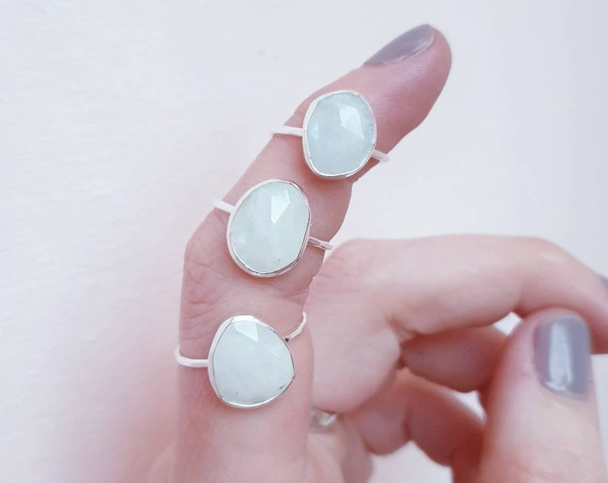 Featured listing image: Ring Moonstone Made to Size / 925 Sterling Silver / Rose cut White / Milky / Handmade / BOHO / Gypset / Gemstone / Musthave / Rainbow Custom