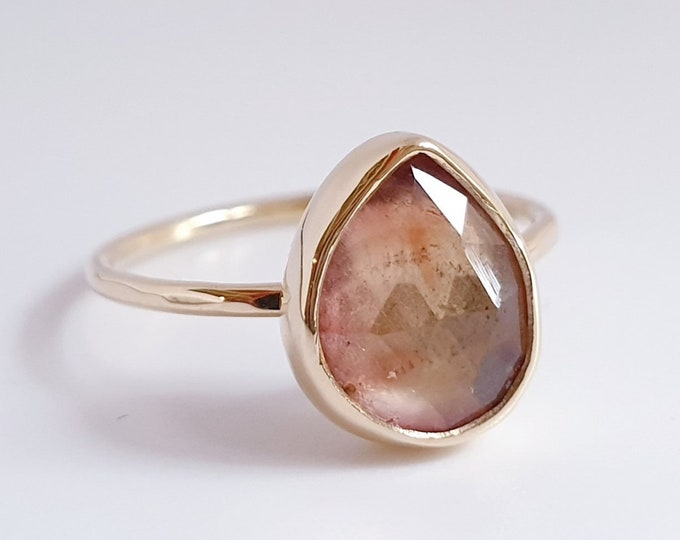 Featured listing image: Pink and Yellow tourmaline 14krt Gold ring / Natural / Gemstone / 14 Karat / Rose Cut / Minimal gemstone jewelry / Alternative engagement