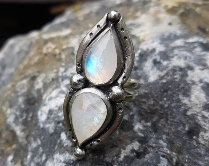Featured listing image: Large Ring Moonstone 925 Sterling Silver / Size 8 / White / Milky / Handmade / BOHO / Gypset / Gemstone / Mermaid Atlantis / Teardrop / Blue