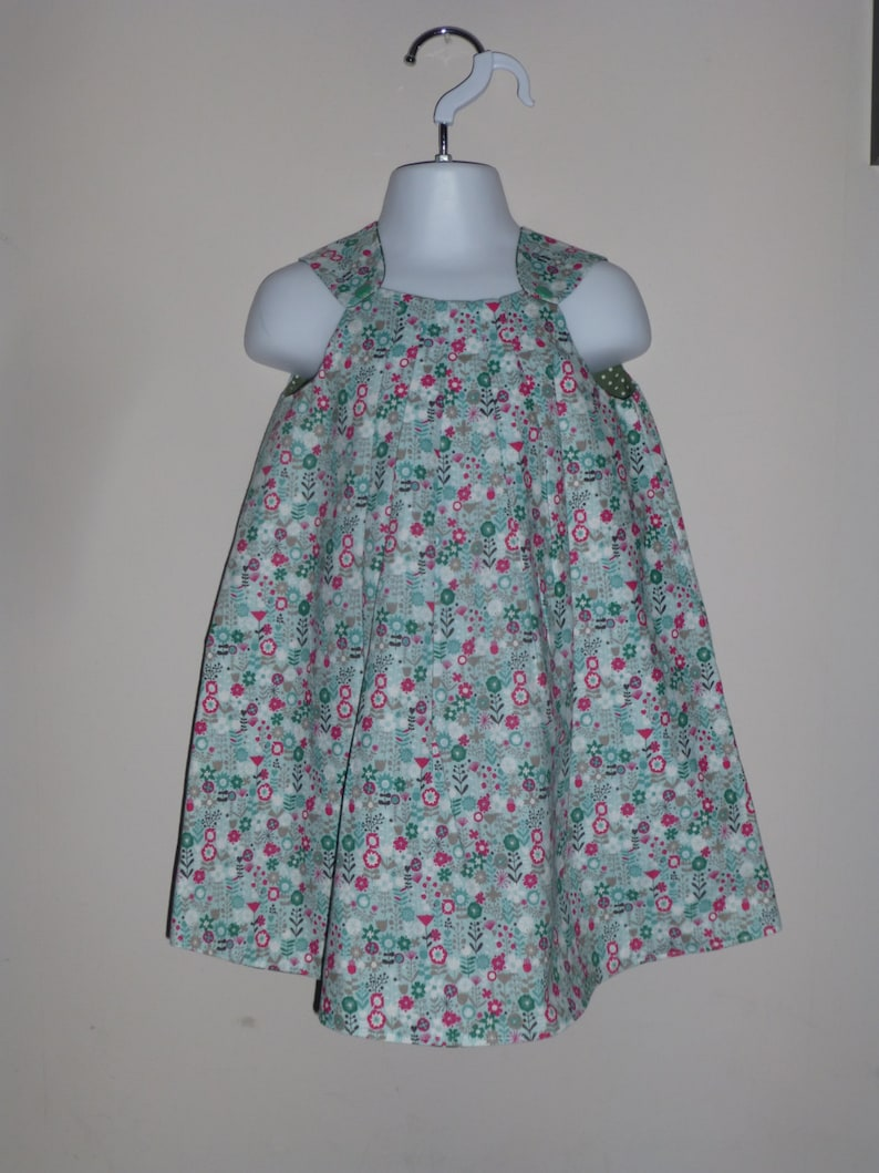 Reversible Pleated Dress Toddler Girls Dress 2 in 1 dress Green Floral Dress Party dress Size 3 Years Floral Girls Dress