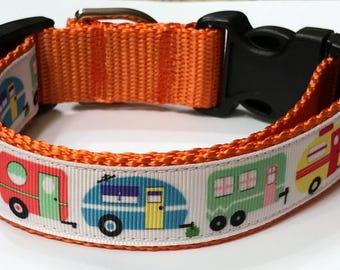 2023767d86 Dog Collars  Retro Vintage Camper Trailer Ribbon Dog Collar