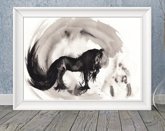 Inky Friesian, original india ink painting/drawing of friesian horse by Allison Muldoon/ChuckandStan