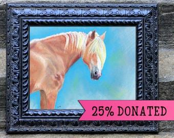 Last Goodbye, Tristan, rescue Belgian draft horse oil pastel limited edition prints by Allison Muldoon/ChuckandStan