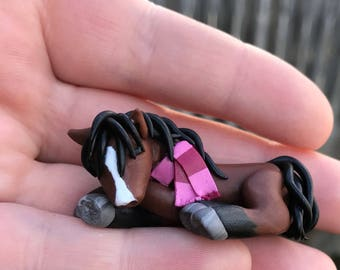 Annabelle, miniature sleeping bay horse/pony sculpture handmade of polymer clay by Allison Muldoon/A57art