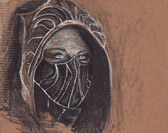 Blue eyed assassin, original pen and ink drawing of skyrim/elder scrolls assassin on cardboard handmade by Allison Muldoon/A57art