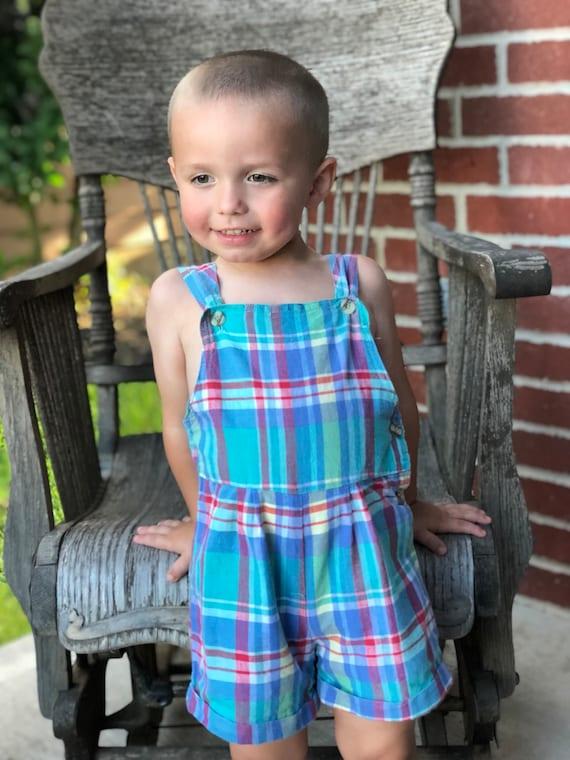 1db24e4d742a Vintage Cotton Plaid Toddler 3T Romper