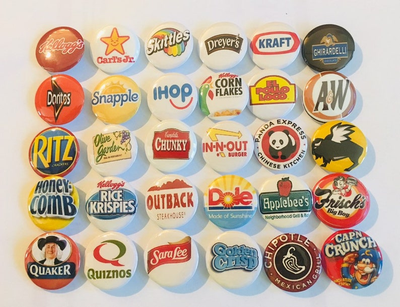 """A+!! Emoji Logo button pins Lot of 25 1/"""" inch buttons More than +100 designs"""