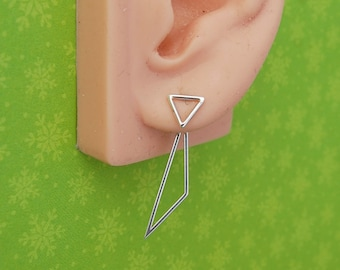 Ear Jackets- Sterling Silver Asymmetrical Triangles- Choice of Stud